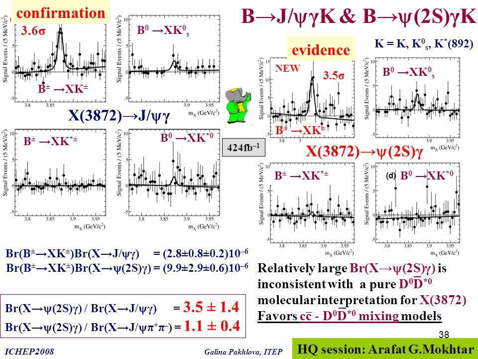 B→J/γK & B→(2S)γK confirmation evidence X(3872)→J/γ X(3872)→(2S)γ