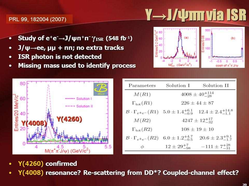Y→J/ψππ via ISR Study of e+e-→J/ψπ+π- γISR (548 fb-1)