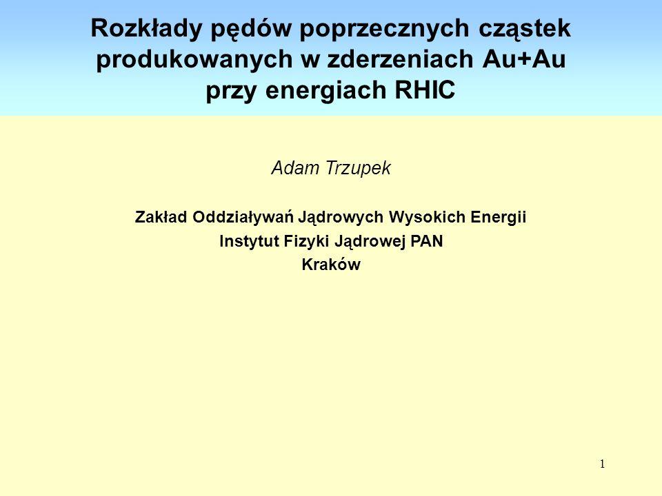 Rozkłady pędów poprzecznych cząstek produkowanych w zderzeniach Au+Au przy energiach RHIC
