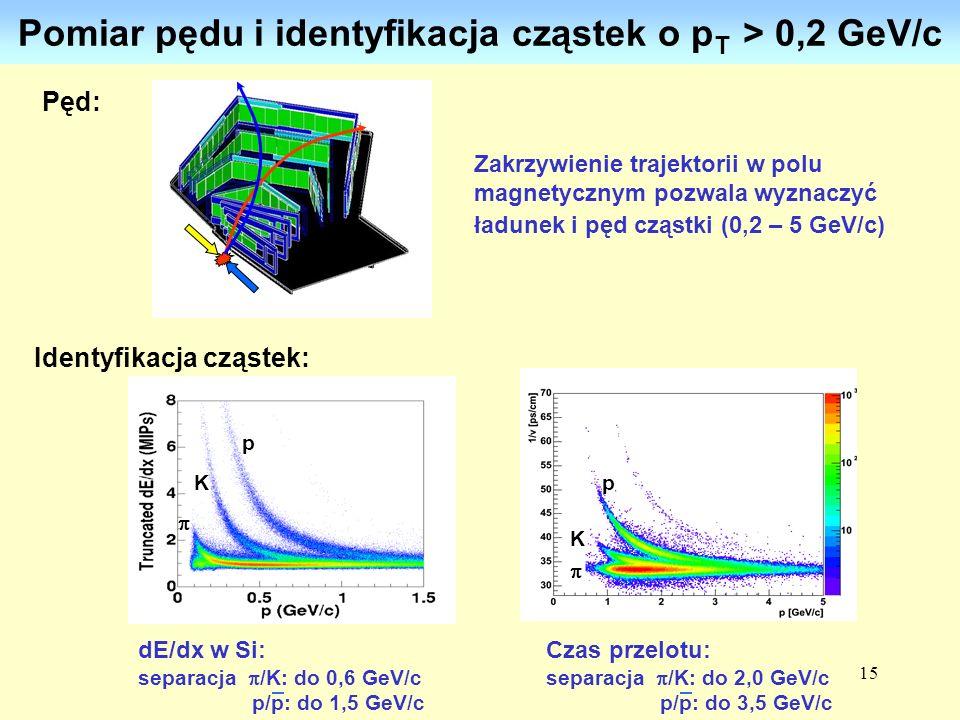 Pomiar pędu i identyfikacja cząstek o pT > 0,2 GeV/c