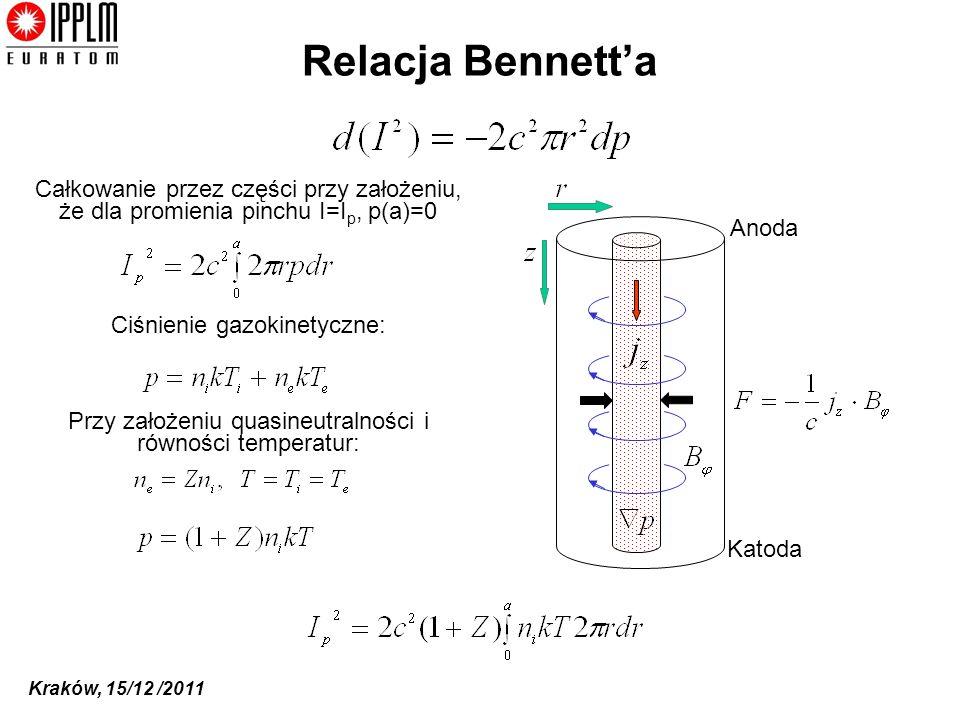 Relacja Bennett'a Całkowanie przez części przy założeniu, że dla promienia pinchu I=Ip, p(a)=0. Anoda.