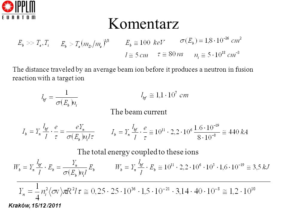 Komentarz The beam current The total energy coupled to these ions