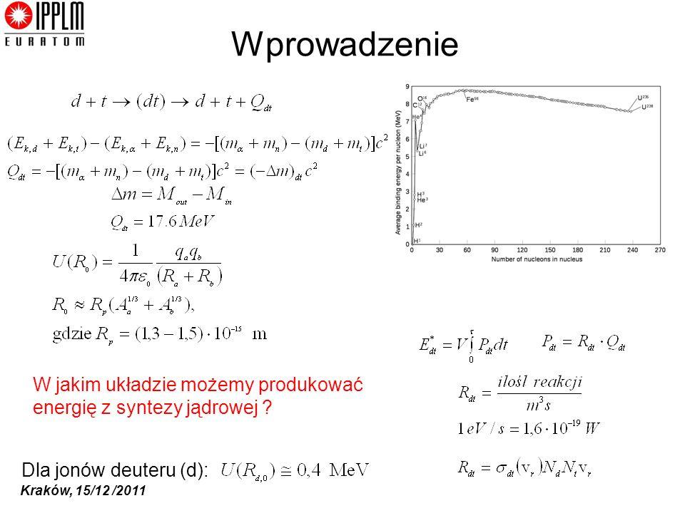 Wprowadzenie W jakim układzie możemy produkować energię z syntezy jądrowej Dla jonów deuteru (d):
