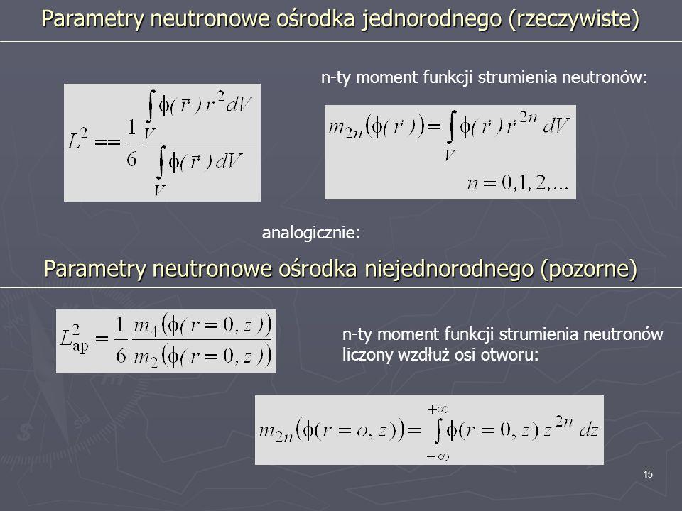 Parametry neutronowe ośrodka jednorodnego (rzeczywiste)