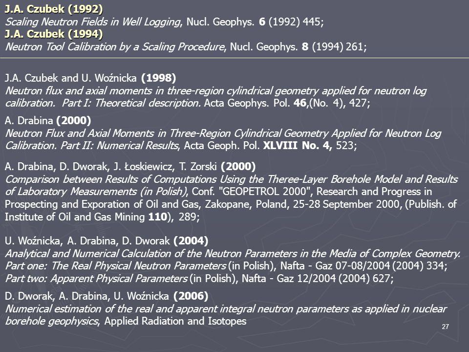J.A. Czubek (1992) Scaling Neutron Fields in Well Logging, Nucl. Geophys. 6 (1992) 445; J.A. Czubek (1994)