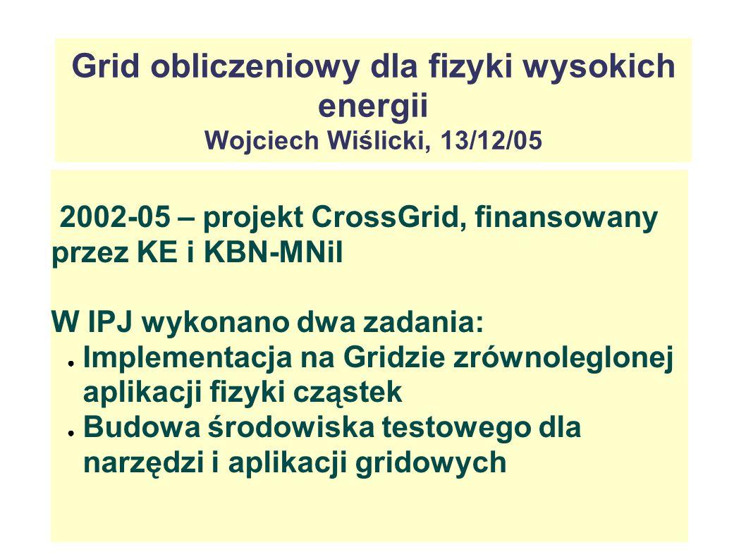 Grid obliczeniowy dla fizyki wysokich energii Wojciech Wiślicki, 13/12/05