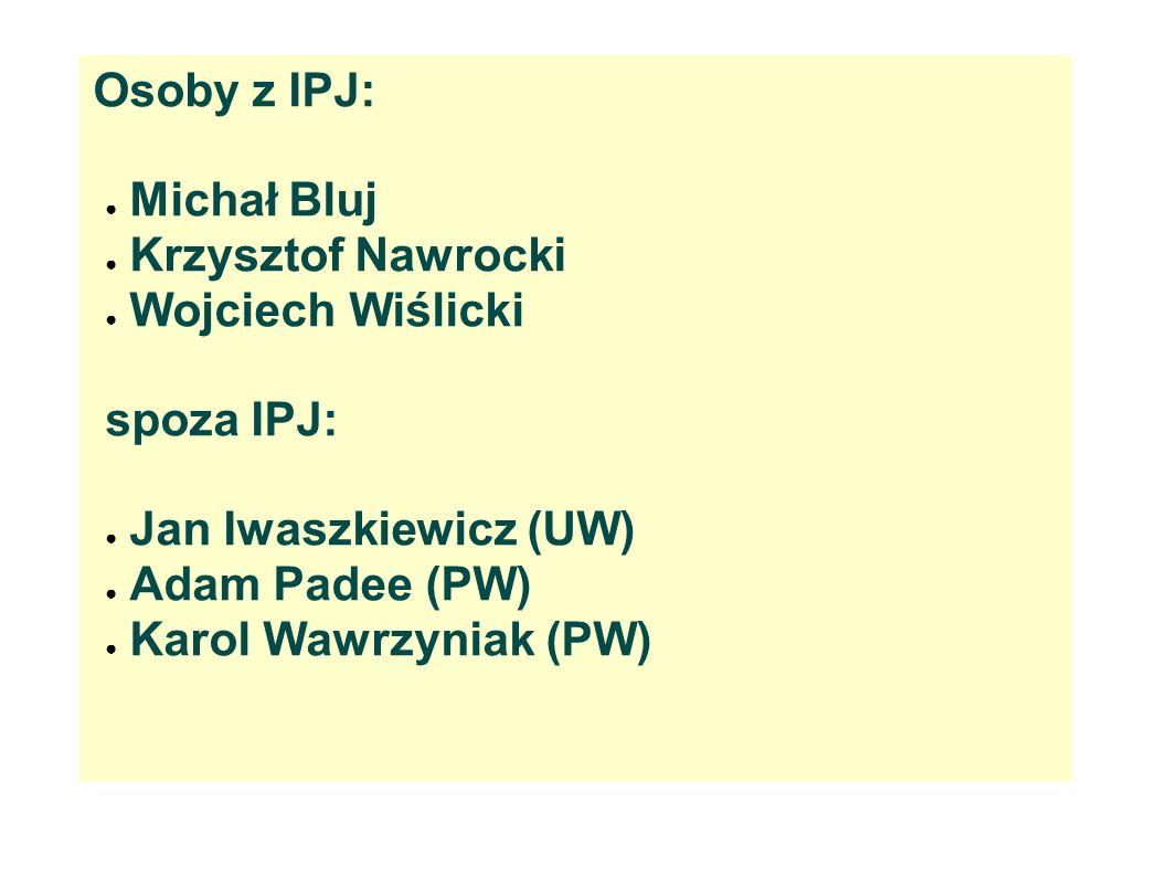 Osoby z IPJ: Michał Bluj. Krzysztof Nawrocki. Wojciech Wiślicki. spoza IPJ: Jan Iwaszkiewicz (UW)