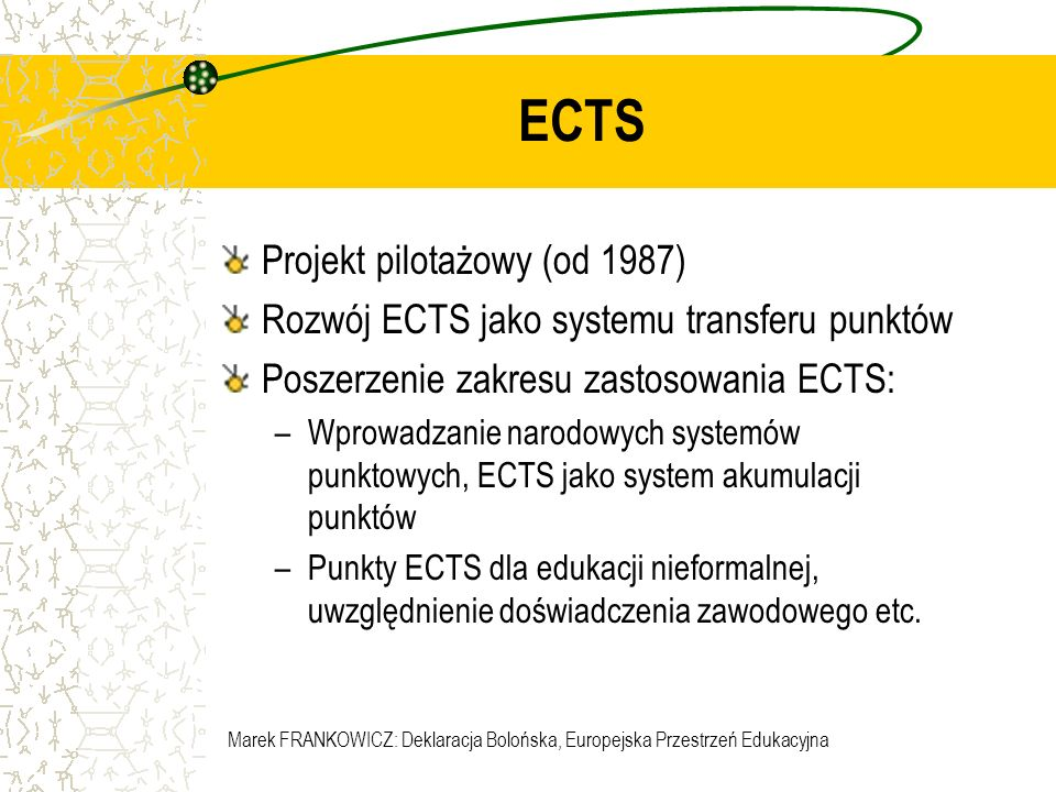 ECTS Projekt pilotażowy (od 1987)