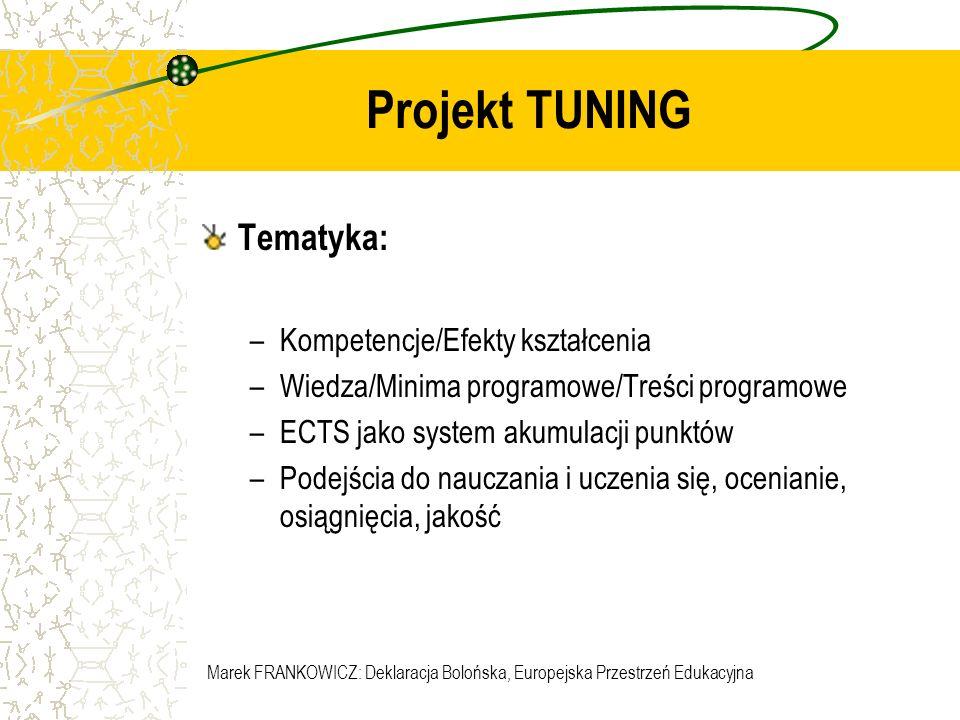 Projekt TUNING Tematyka: Kompetencje/Efekty kształcenia