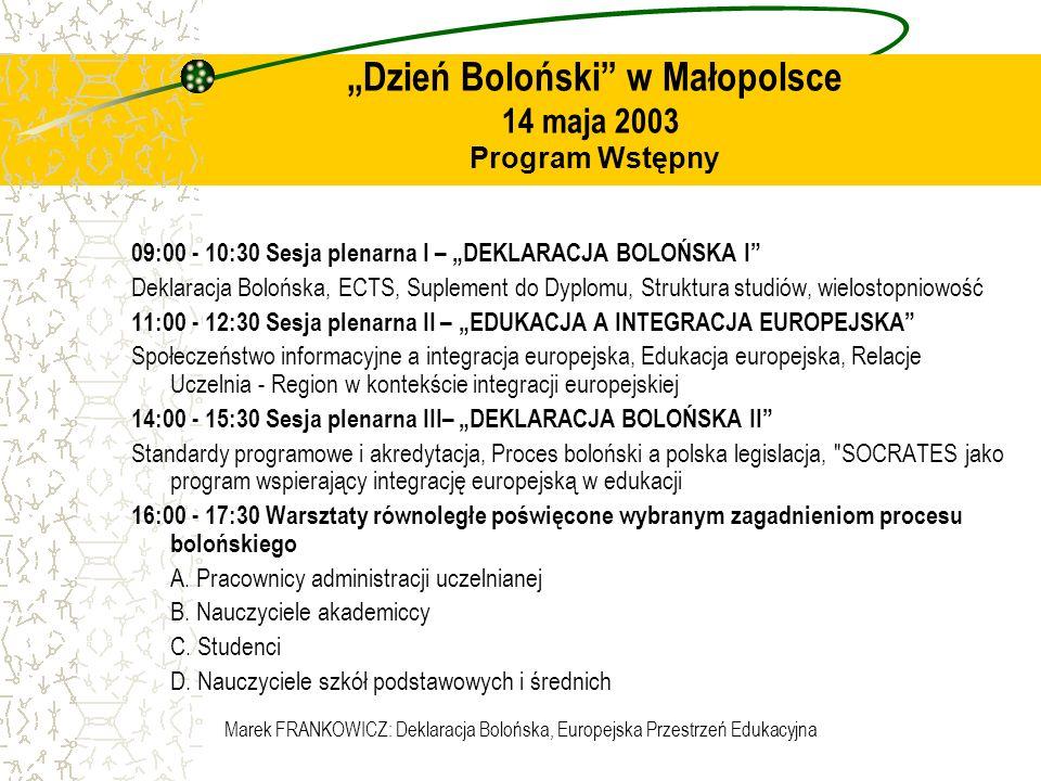 """""""Dzień Boloński w Małopolsce 14 maja 2003 Program Wstępny"""