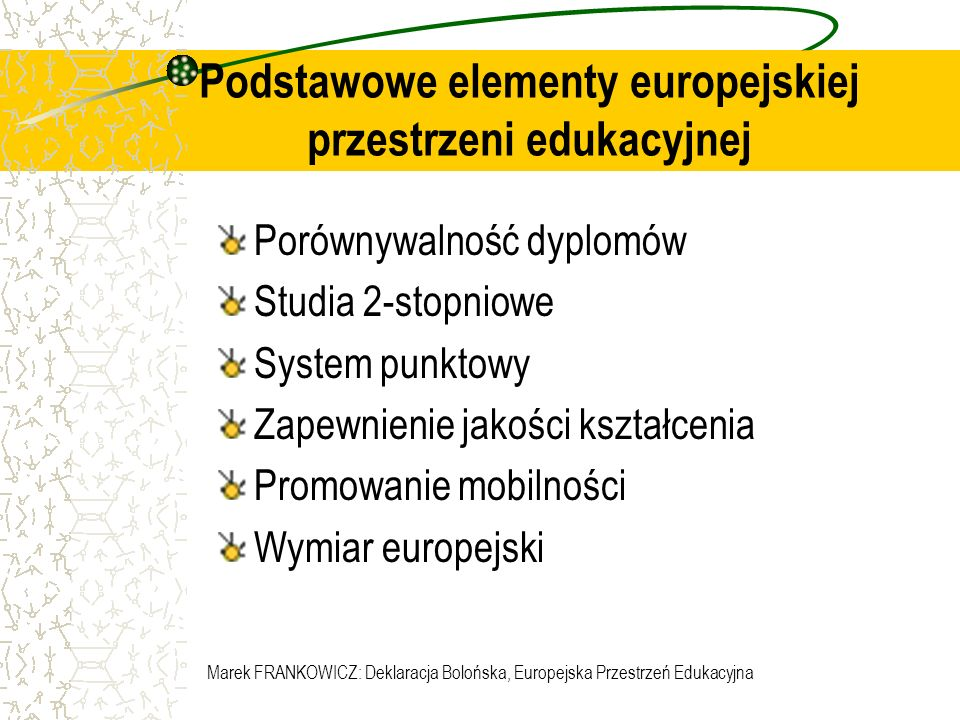 Podstawowe elementy europejskiej przestrzeni edukacyjnej