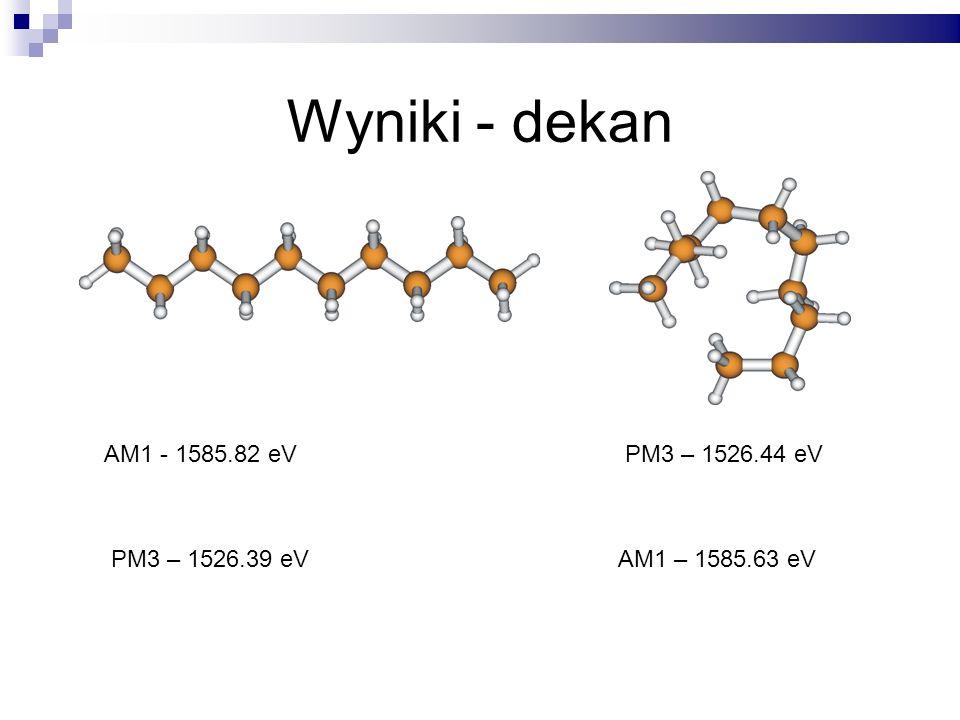 Wyniki - dekan AM1 - 1585.82 eV PM3 – 1526.44 eV PM3 – 1526.39 eV