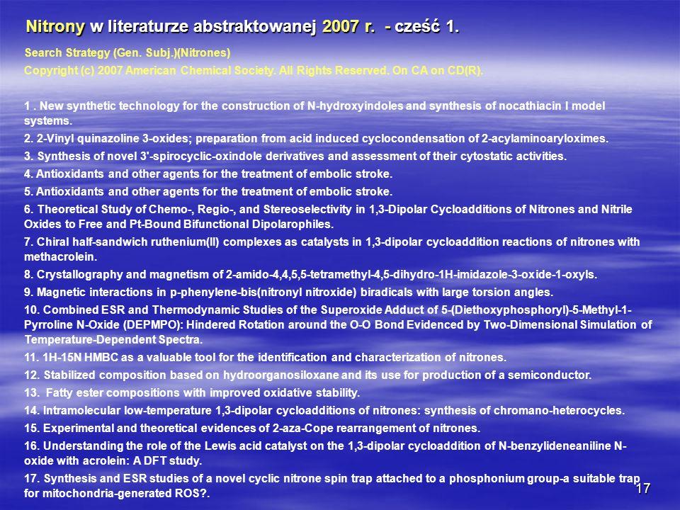 Nitrony w literaturze abstraktowanej 2007 r. - cześć 1.