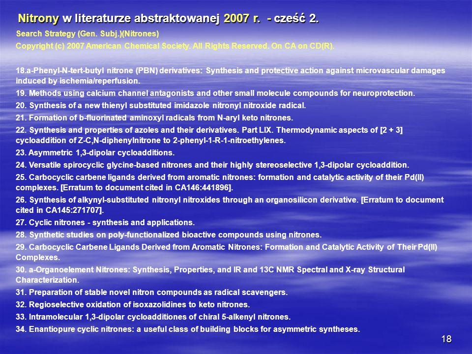 Nitrony w literaturze abstraktowanej 2007 r. - cześć 2.