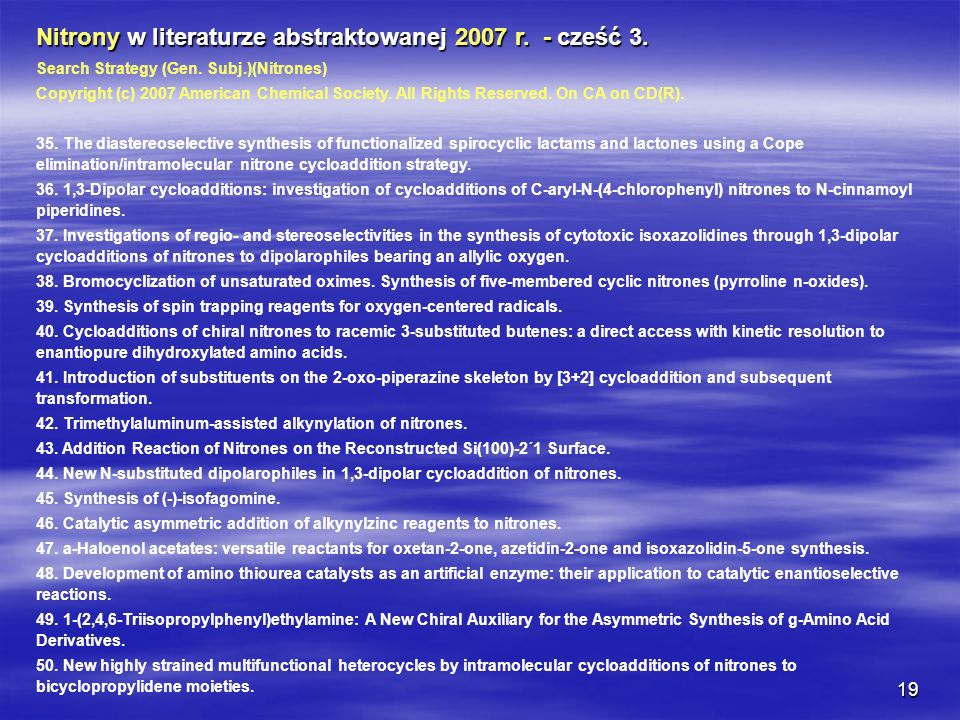 Nitrony w literaturze abstraktowanej 2007 r. - cześć 3.