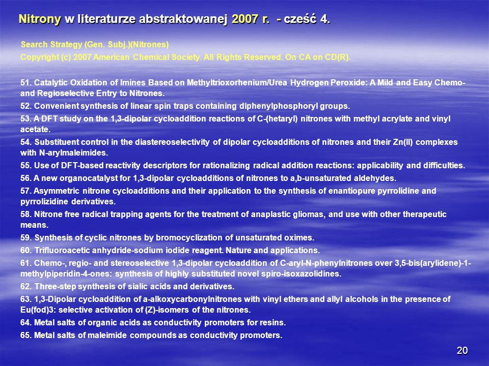 Nitrony w literaturze abstraktowanej 2007 r. - cześć 4.
