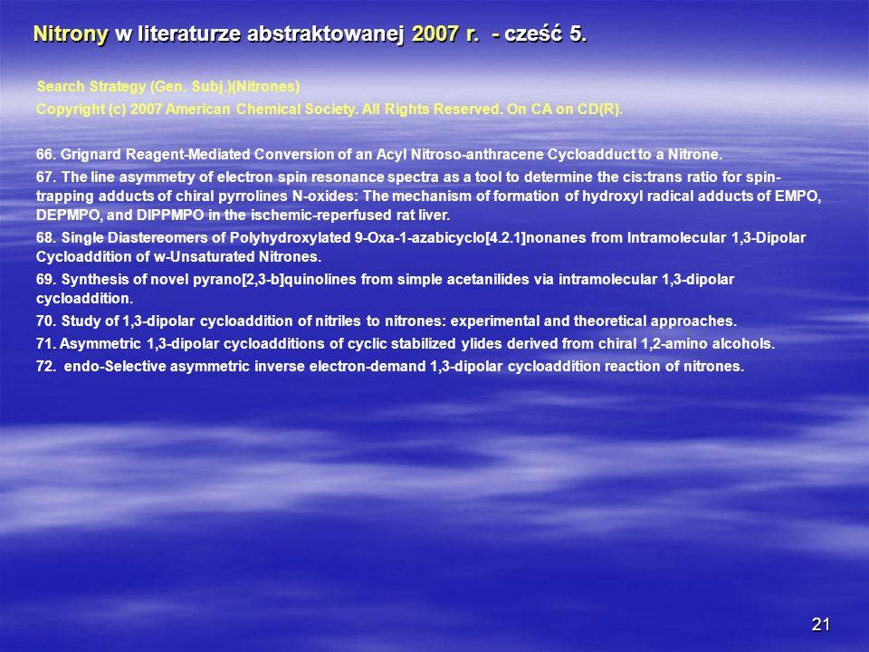 Nitrony w literaturze abstraktowanej 2007 r. - cześć 5.