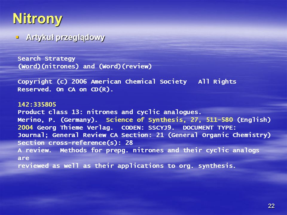 Nitrony Artykuł przeglądowy Search Strategy