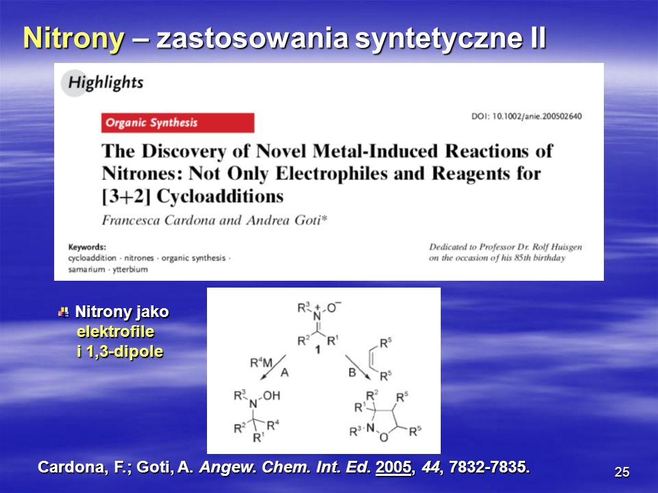Nitrony – zastosowania syntetyczne II