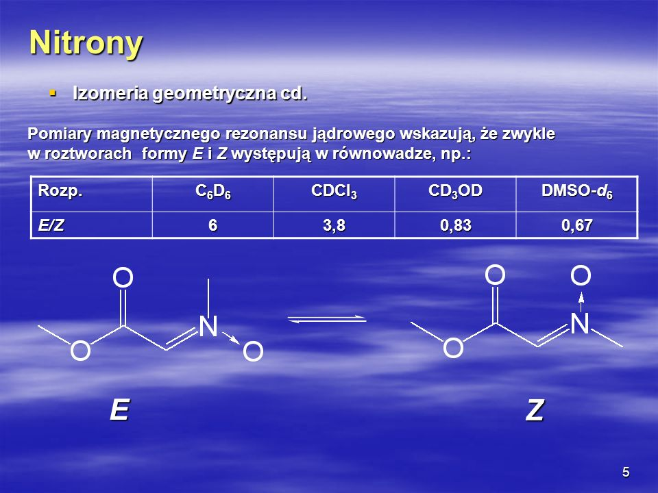 Nitrony E Z Izomeria geometryczna cd.