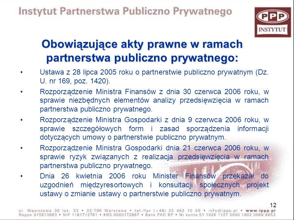 Obowiązujące akty prawne w ramach partnerstwa publiczno prywatnego: