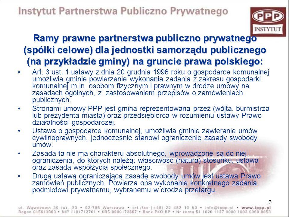 Ramy prawne partnerstwa publiczno prywatnego (spółki celowe) dla jednostki samorządu publicznego (na przykładzie gminy) na gruncie prawa polskiego: