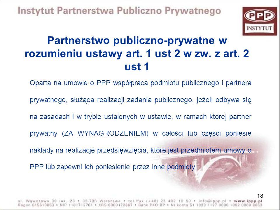 Partnerstwo publiczno-prywatne w rozumieniu ustawy art. 1 ust 2 w zw