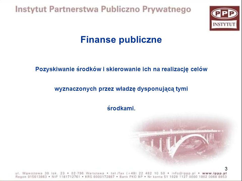 Finanse publiczne Pozyskiwanie środków i skierowanie ich na realizację celów. wyznaczonych przez władzę dysponującą tymi.