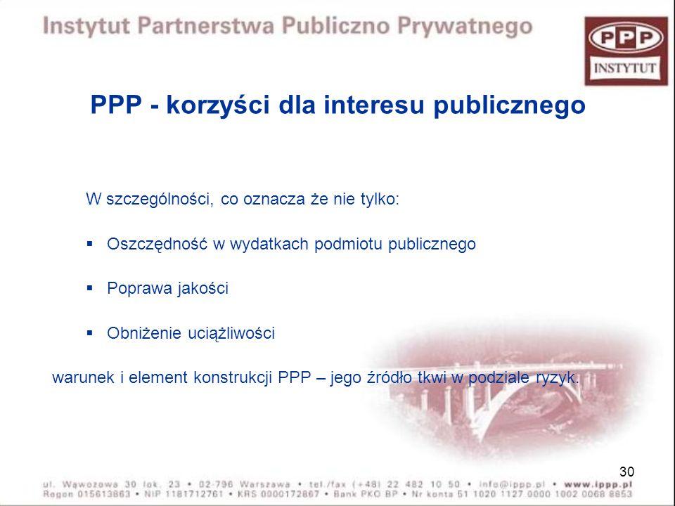 PPP - korzyści dla interesu publicznego