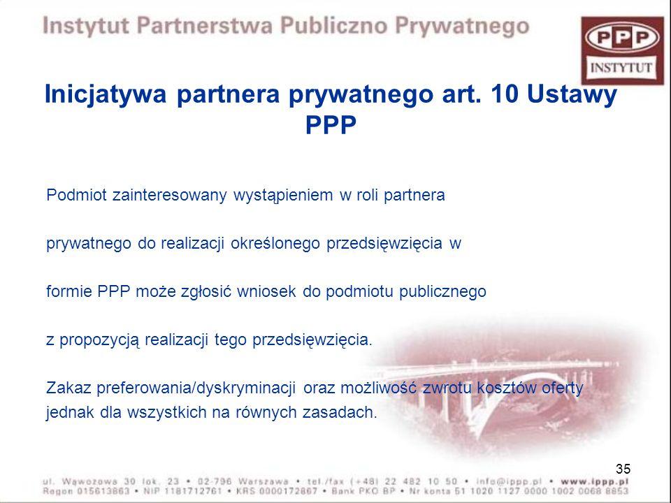 Inicjatywa partnera prywatnego art. 10 Ustawy PPP