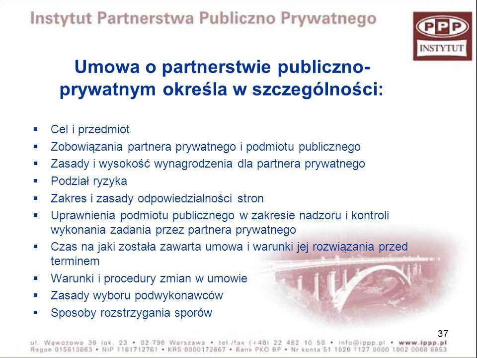 Umowa o partnerstwie publiczno-prywatnym określa w szczególności: