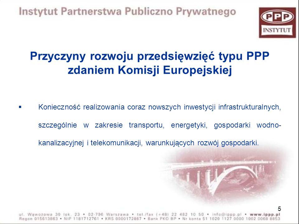 Przyczyny rozwoju przedsięwzięć typu PPP zdaniem Komisji Europejskiej
