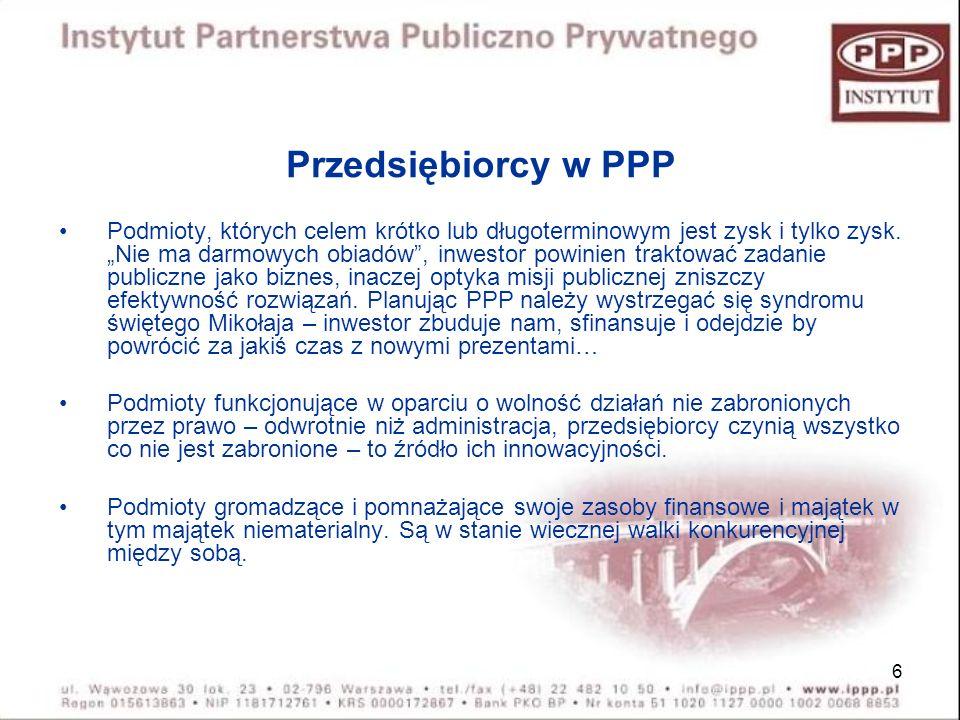 Przedsiębiorcy w PPP