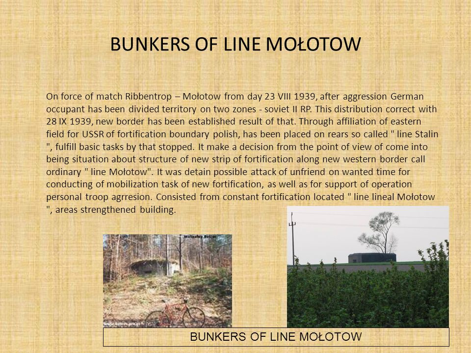 BUNKERS OF LINE MOŁOTOW