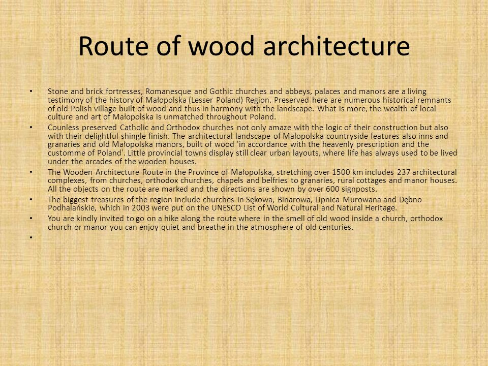 Route of wood architecture