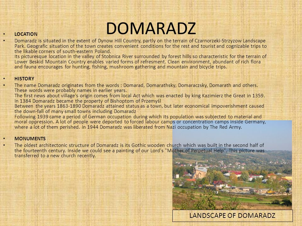 DOMARADZ LANDSCAPE OF DOMARADZ LOCATION