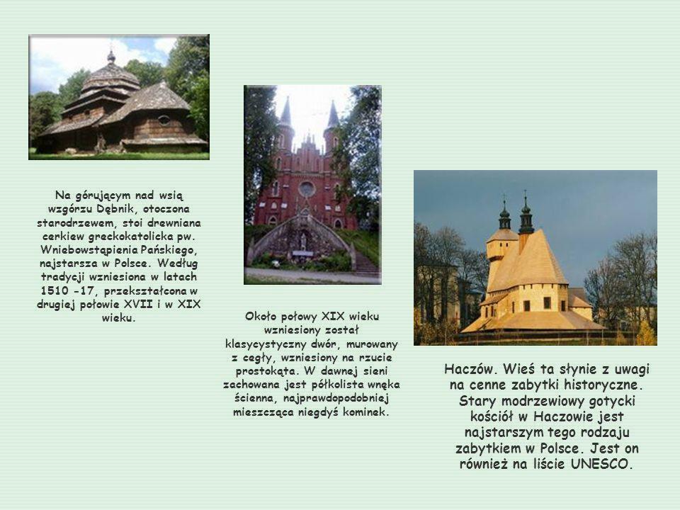 Na górującym nad wsią wzgórzu Dębnik, otoczona starodrzewem, stoi drewniana cerkiew greckokatolicka pw. Wniebowstąpienia Pańskiego, najstarsza w Polsce. Według tradycji wzniesiona w latach 1510 -17, przekształcona w drugiej połowie XVII i w XIX wieku.