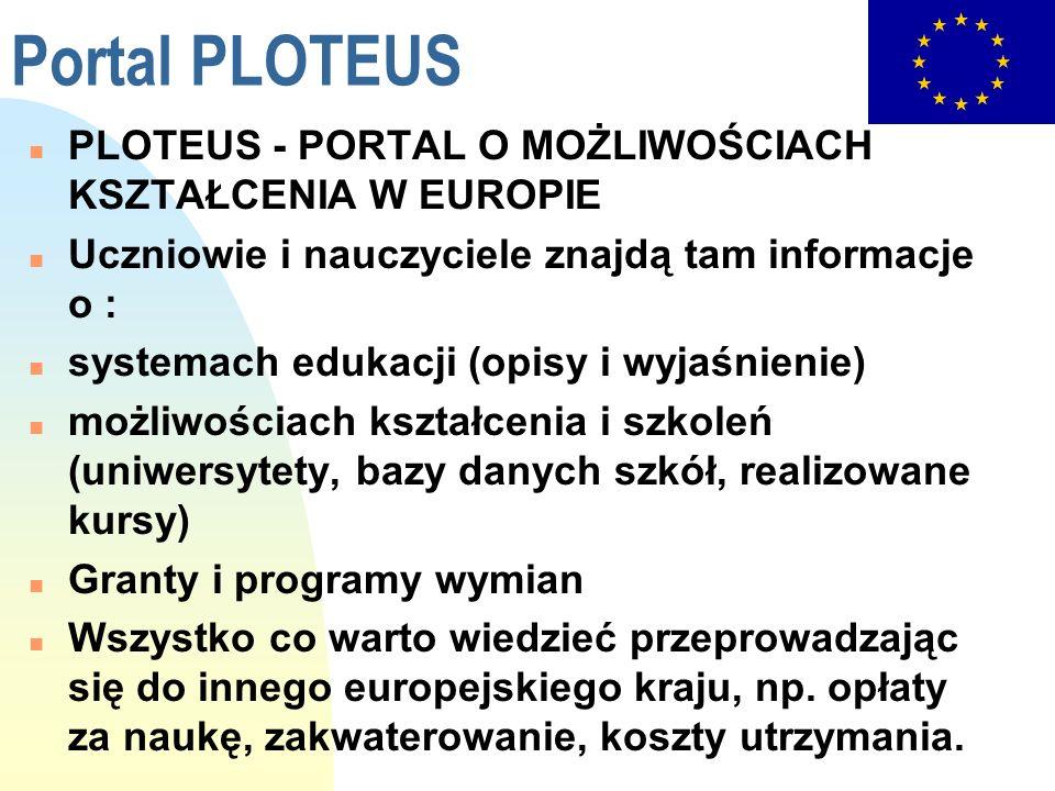 Portal PLOTEUS PLOTEUS - PORTAL O MOŻLIWOŚCIACH KSZTAŁCENIA W EUROPIE
