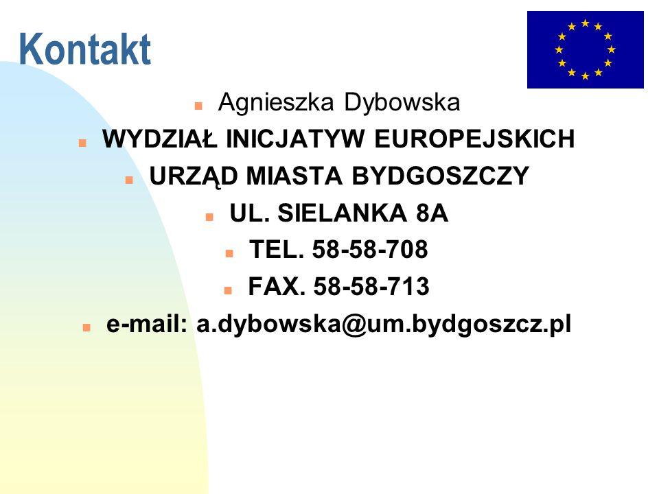 Kontakt Agnieszka Dybowska WYDZIAŁ INICJATYW EUROPEJSKICH