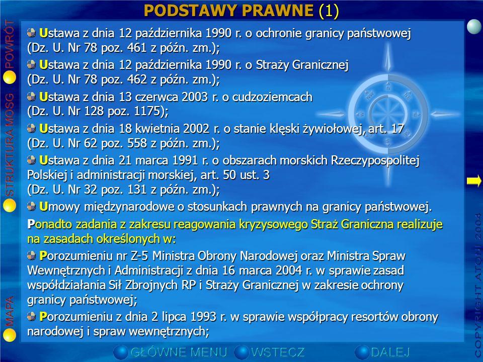 PODSTAWY PRAWNE (1) Ustawa z dnia 12 października 1990 r. o ochronie granicy państwowej (Dz. U. Nr 78 poz. 461 z późn. zm.);