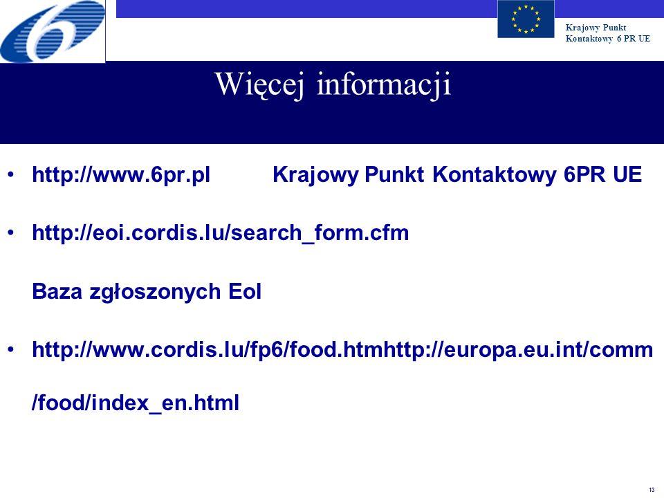 Więcej informacji http://www.6pr.pl Krajowy Punkt Kontaktowy 6PR UE