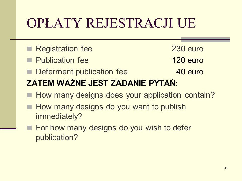 OPŁATY REJESTRACJI UE Registration fee 230 euro