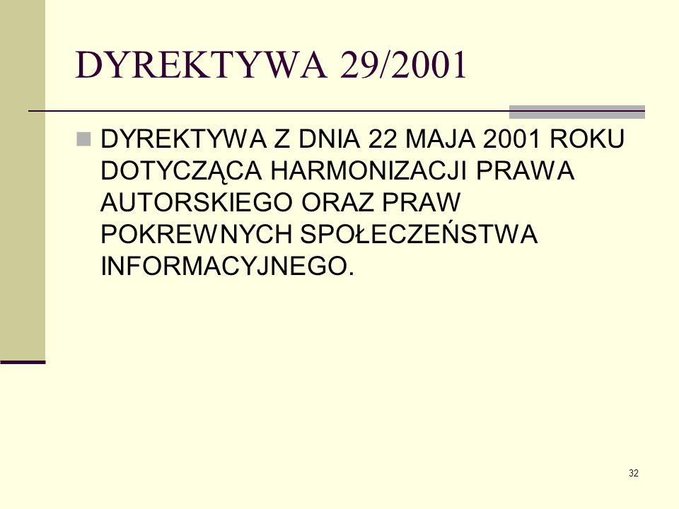 DYREKTYWA 29/2001 DYREKTYWA Z DNIA 22 MAJA 2001 ROKU DOTYCZĄCA HARMONIZACJI PRAWA AUTORSKIEGO ORAZ PRAW POKREWNYCH SPOŁECZEŃSTWA INFORMACYJNEGO.
