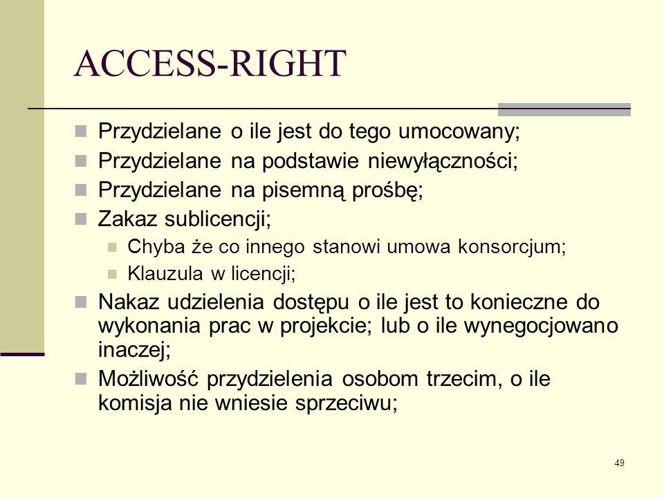 ACCESS-RIGHT Przydzielane o ile jest do tego umocowany;