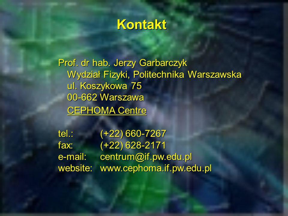 Kontakt Prof. dr hab. Jerzy Garbarczyk