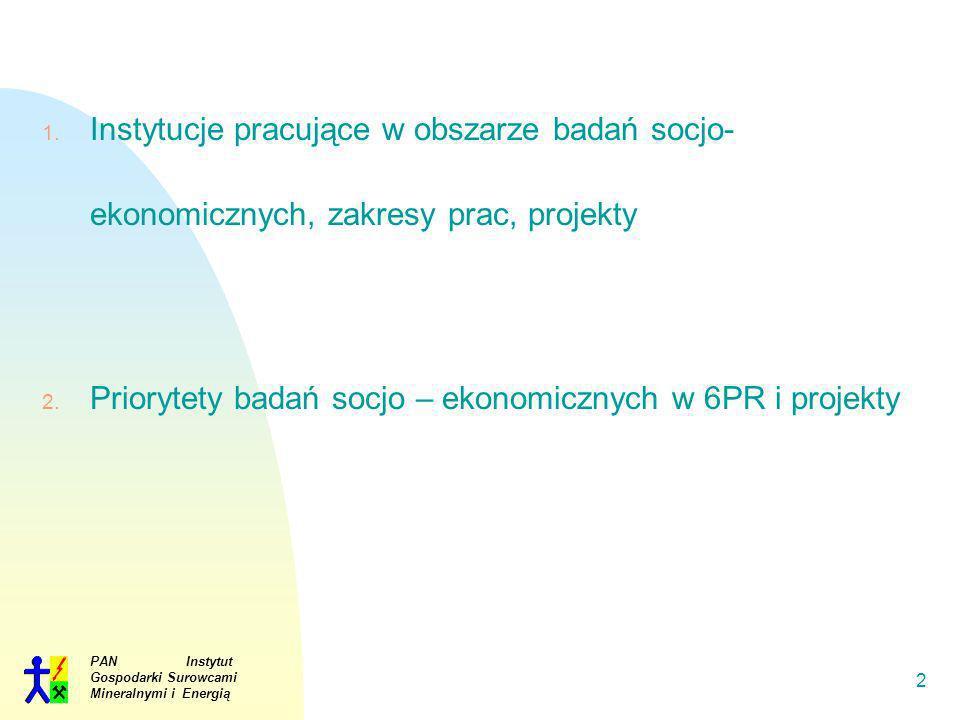 Priorytety badań socjo – ekonomicznych w 6PR i projekty