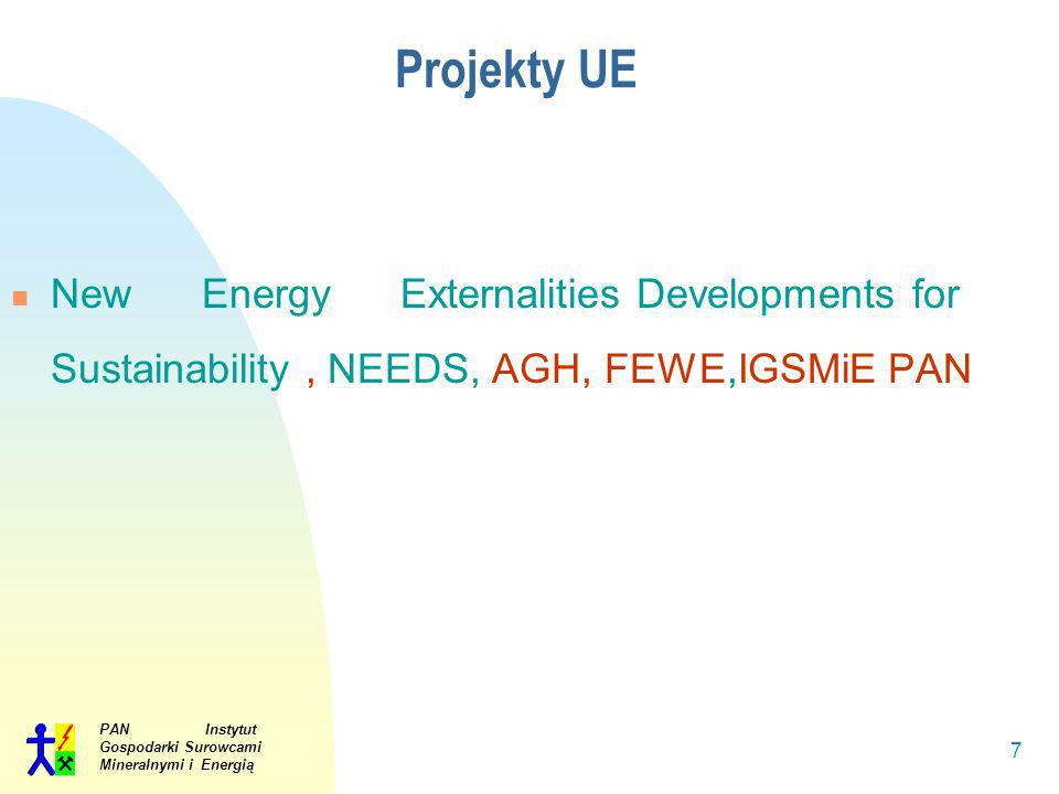 Projekty UE New Energy Externalities Developments for Sustainability , NEEDS, AGH, FEWE,IGSMiE PAN.