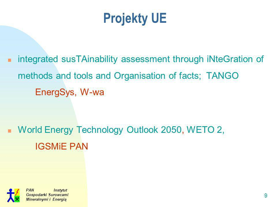 Projekty UE integrated susTAinability assessment through iNteGration of methods and tools and Organisation of facts; TANGO EnergSys, W-wa.