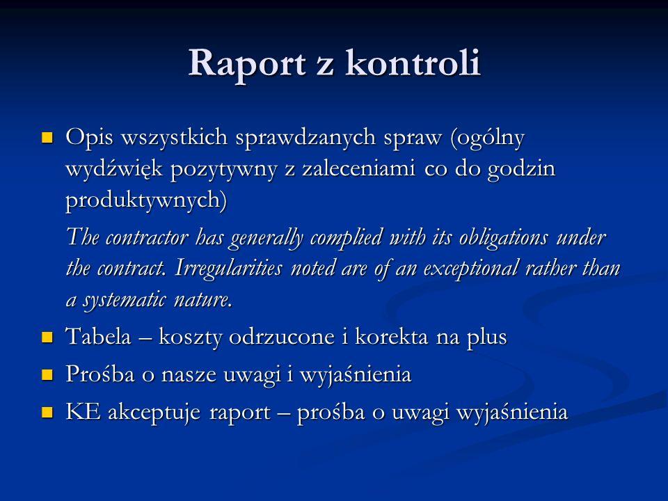 Raport z kontroli Opis wszystkich sprawdzanych spraw (ogólny wydźwięk pozytywny z zaleceniami co do godzin produktywnych)