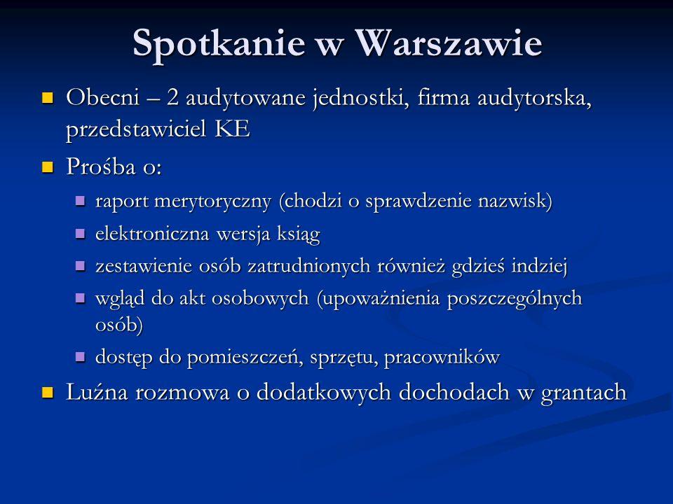 Spotkanie w Warszawie Obecni – 2 audytowane jednostki, firma audytorska, przedstawiciel KE. Prośba o: